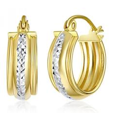 Wellingsale WANITA 14 K Dua Suara Gold Dipoles 6 Mm Huggies Anting-Anting Hoop (15 Mm Diameter)-Internasional