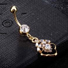 Gaya Barat Zircon Navel Ring Wanita Silver Surgical Steel Navel Piercing Brand Body Perhiasan-Intl