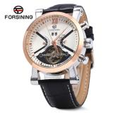 Spesifikasi Putih Dan Golden Forsining Pria Tourbillon Automatic Mechanical Watch Leather Strap Kalender Arloji Intl Forsining