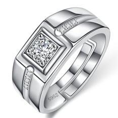 Putih Emas Pria Ring Overlord Kepribadian Simulasi Diamond Ring MALE Cincin Pernikahan Ring Fashion