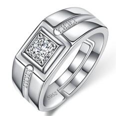 Putih Emas Pria Ring Overlord Kepribadian Simulasi Diamond Ring MALE Cincin Pernikahan Ring Fashion-Intl