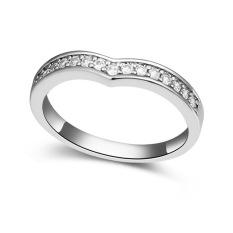 Emas Putih Berlapis AAA CZ Batu Madu Concomitant Cincin Perhiasan untuk Wanita (Clear)