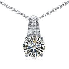 Emas Putih Berlapis AAA CZ Batu Suka Di Dalam Hati Liontin Kalung Hadiah untuk Wanita (Clear)-Intl