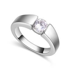 Emas Putih Berlapis AAA CZ Batu Moonlight Di Kota Cincin Perhiasan untuk Wanita (Clear)