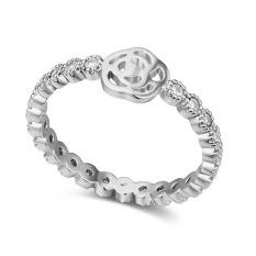 Lapis Emas Putih AAA CZ Batu Rose Love Cincin Perhiasan untuk Wanita (Clear)