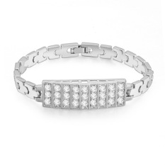 Emas Putih Berlapis AAA CZ Batu Sederhana Mewah Jaringan Gelang Hadiah untuk Wanita (Clear)
