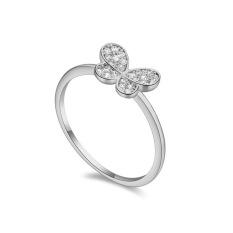 Emas Putih Berlapis AAA CZ Batu Sederhana-style Butterfly Cincin Perhiasan untuk Wanita (Clear)