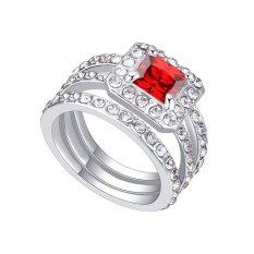 Emas Putih Berlapis AAA CZ Batu Square Love Cincin Perhiasan untuk Wanita (Merah)-Intl