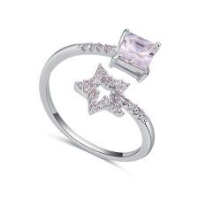 Emas Putih Berlapis AAA CZ Batu Star Pencocokan Quadrate Cincin Perhiasan untuk Wanita (Clear)