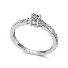 Emas Putih Berlapis AAA CZ Batu Bintang Diamond Cincin Perhiasan untuk Wanita (Clear)
