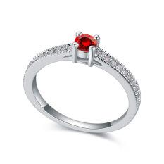 Emas Putih Berlapis AAA CZ Batu Bintang Diamond Cincin Perhiasan untuk Wanita (Merah)
