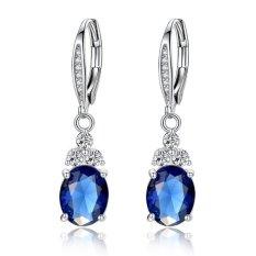 Emas Putih Disepuh Dibuat Sapphire Blue Solitaire Sweet Heart Lady Love Hoop Earrings untuk Perempuan-Intl