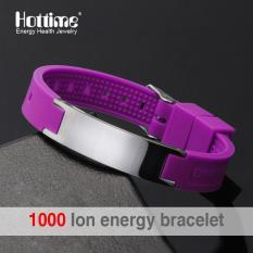 Beli Grosir 4 In 1 Bio Elemen Energi Multicolour Silicone Bracelet Man Fashion 316L Stainless Steel Magnetic Mens Bracelet 20001 Intl