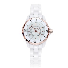 Grosir SKONE 5002 Original Brand Bercahaya Fashion Watch Jam Tangan ES Wanita Warna Rose Gold Bezel Keramik Putih Analog QUARTZ Watch Jam Tangan Ladies Reloj Mujer