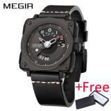 Beli Grosir Megir Ml2040G Men Watch Jam Tangan Fashion Quartz Watch Jam Tangan Es Clock Men Leather Strap Militer Watch Jam Tangan Terbaru