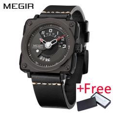 Spek Grosir Megir Ml2040G Men Watch Jam Tangan Fashion Quartz Watch Jam Tangan Es Clock Men Leather Strap Militer Watch Jam Tangan Tiongkok