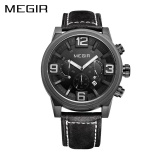 Review Terbaik Grosir Megir Ml3010G Merek Mewah Sport Watch Jam Tangan Pria Jam Kuarsa Jam Tangan Es Chronograph Leather Soldier Wrist Watch Jam Tangan
