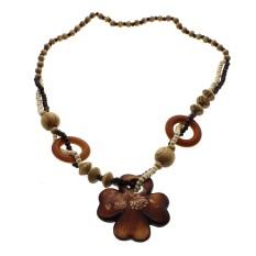 Whyus Kecantikan Long Gaya Etnik Yang Indah Kayu Cross Flower Pendant Wood Beads Kalung