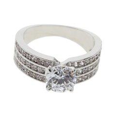 Whyus-tahan Lama 2017 Perhiasan Platinum Disepuh 3 Baris dengan AAA Cubic Zircon Jari Cincin 6-Intl