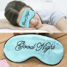 Whyus-Good Night Soft Embroidered Sleep Eye Mask Home Travel Sleeping Blindfold (Green) - intl