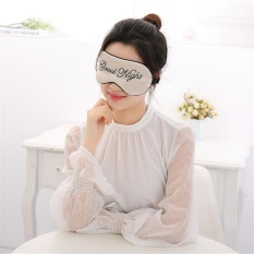 Whyus-tahan Selamat Malam Soft Bordir Sleep Eye Mask Home Perjalanan Tidur Penutup Mata (Beige)-Intl