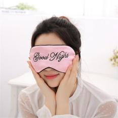 Whyus-tahan Selamat Malam Soft Bordir Sleep Eye Mask Home Perjalanan Tidur Penutup Mata (Pink)-Intl