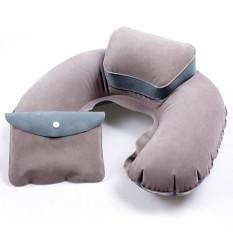 Beli Whyus Portable Travel Inflatable Leher Bantal Udara Pvc Flocking U Shape Blow Up Cushion Grey Oem Asli