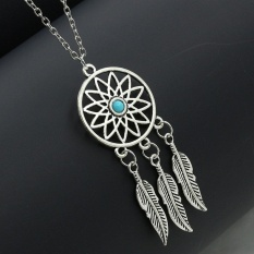 Whyus-tahan Pesona Unik Kalung Wanita Turquoise Dream Catcher Pendant Necklace #04-Internasional
