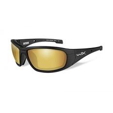 WILEY X 1930469 Wily BOSS Pol Amber Lensa Mat Form Berburu Kacamata Keselamatan, Emas-Intl