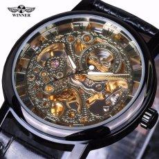 Winner Automatic Mechanical Business Luxury Men Watch Leather Strap Fashion Brand Retro Gold Wristwatch (Black