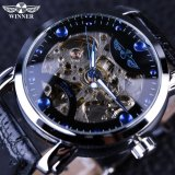 Harga Winner Black Skeleton Designer Blue Engraving Clock Men Leather Strap Mens Watches Top Brand Luxury Automatic Watch Montre Homme Intl Winner Terbaik