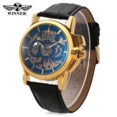 Beli Pemenang F120599 Pria Auto Mechanical Watch Luminous Pointer Hollow Back Dekoratif Sub Dial Jam Tangan Emas Seken