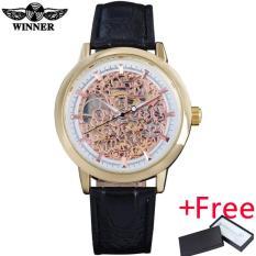 Spesifikasi Pemenang Kasual Untuk Pria Tas Tangan Mekanik Angin Watches Leather Strap Skeleton Dial Gold Case Analog Jam Tangan Reloj Hombre Intl Merk Winner
