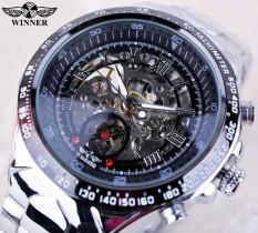 Winner GMT107 Black Dial Skeleton Mens Watches Top Brand Luxury Stainless Steel Sport Watch Montre Homme Clock Men Erkek Kol Saati - intl
