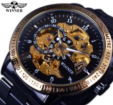 Winner GMT854 Retro Classic Scale Golden Case Small Dial Design Relogio Masculino Mens Automatic Watches Top Brand Luxury Wrist Watch - intl