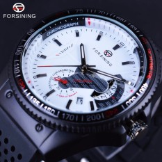 Winner GMT966 Sport Racing Style Rubber Band Mens Watches Top Brand Luxury Automatic Fashion Watch Mechanical Clock Men White Dial - intl