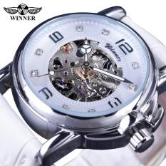Winner GMT972-3 2017 Ladies Diamond Display Women Top Brand Luxury White Simple Skeleton Transparent Case Automatic Mechanical Watches - intl
