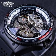 Winner GMT977 2017 Rotating Bezel Design Rubber Band Inside Mens Watch Top Brand Luxury Mechanial Automatic Skeleton Sport Watch Clock - intl