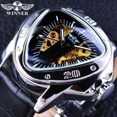 Winner GMT996-2 Clock Mechanical Men Watches 2017 Luxury Brand Automatic Self-wind Wristwatch Triangle Dial Design Golden Skeleton Watch - intl