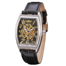 Pemenang Tali Kulit Skeleton Automatic Mechanical Watch Hitam Winner Diskon 50
