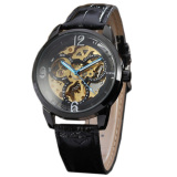 Miliki Segera Winner Men Skeleton Automatic Mechanical Leather Band Sport Watch Gold