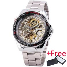 Jual Pemenang Pria Automatic Mechanical Skeleton Watch Stainless Steel Strap Supersize Case Gear Berbentuk Rotasi Tachymeter Case Box 221 Satu Set