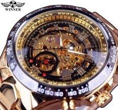 Pemenang Terbaru Nomor Sport Desain Bezel Golden Top Brand Pria Otomatis Skeleton Watch Mewah Montre Homme Clock-Emas Watchcase Hitam Dial Allwin-Internasional