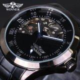 Spesifikasi Pemenang Skeleton Mechanical Mewah Pria Watch Black Waterproof Stainless Steel Fashion Kasual Militer Merek Olahraga Wrist Watch Intl Baru