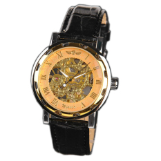 Winner U8018 Automatic Mechanical Watch - Jam Tangan Pria - Gold - Leather