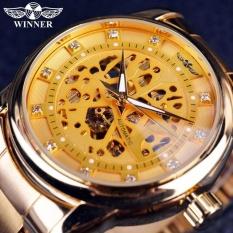 Beli Pemenang Watch Sport Desain Bezel Emas Keperakan Watch Mens Watches Top Merek Mewah Montre Homme Jam Pria Otomatis Skeleton Watch Secara Angsuran
