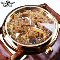 Harga Winner Win358 5 Transparent Golden Case Luxury Casual Design Brown Leather Strap Mens Watches Top Brand Luxury Mechanical Skeleton Watch Intl Yg Bagus