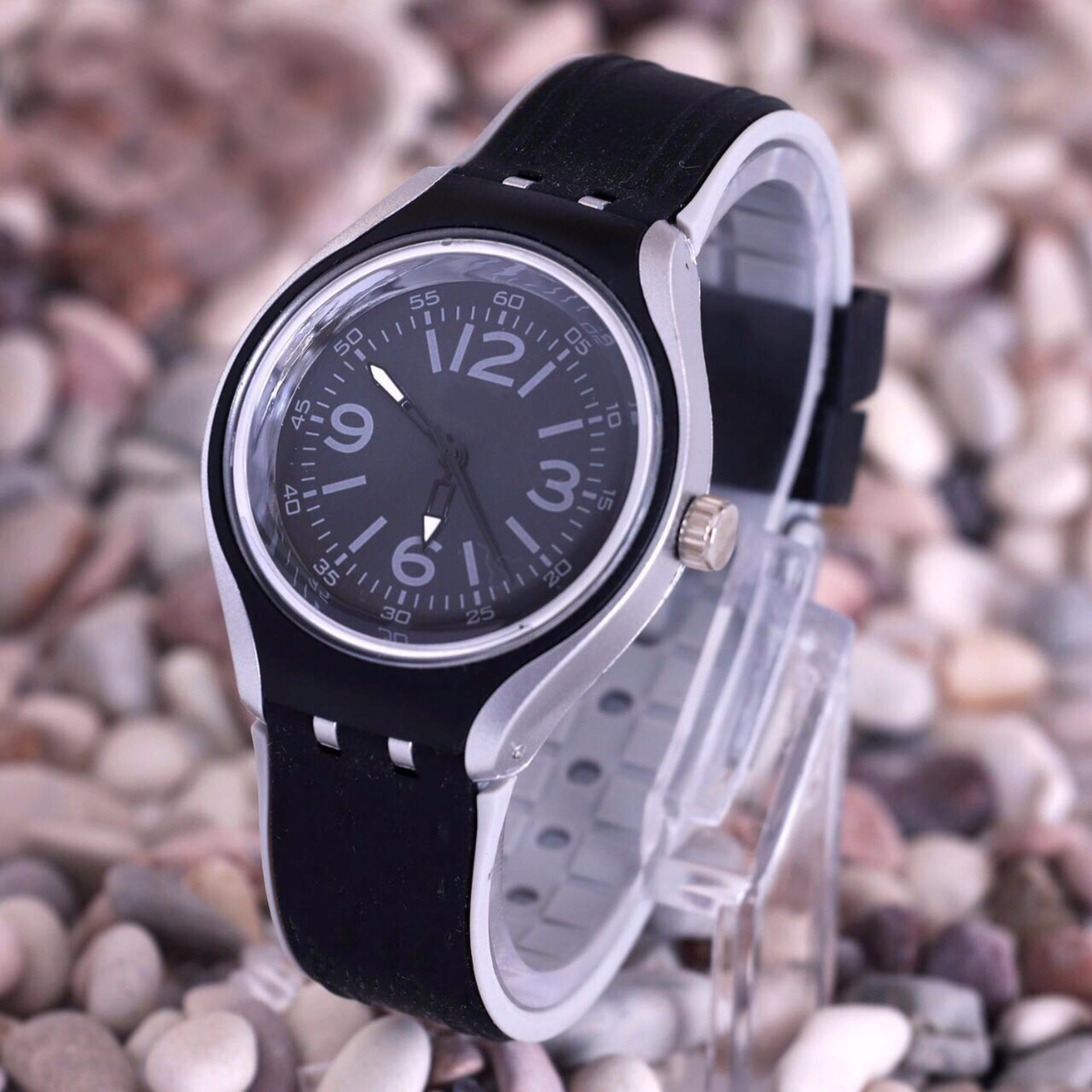 Water Resistance: No WK Jam Tangan Pria Wanita Minimalist Fashion Analog Quartz Men Lady Karet PU Watch - Black