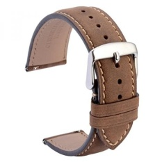 WOCCI 20mm Quick Release Watch Bands Dark Brown Suede Leather Watch Straps with Silver Metal Pins Buckle - intl