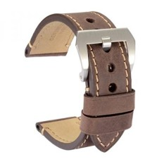 WOCCI Watch Bands 24mm Soft Vintage Dark Brown Crazy Horse Kulit Jam Tangan Strap Belt untuk Pria-Intl